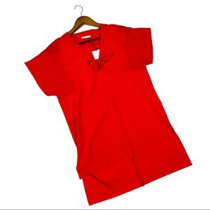 Zara Trafaluc Red Tie Front Tunic Top Small New